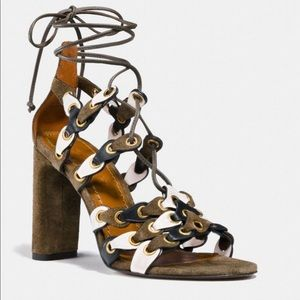 Coach Signature Link Lace up Sandals in Fatigue